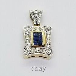 $7500 Huge Custom Made 3.00 Carat Blue Sapphire & Diamond Cluster Pendant