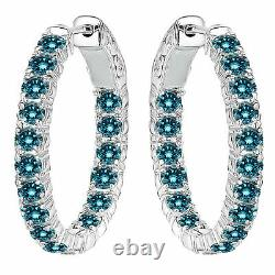 7.00 Carat Blue Diamond In and Out Hoop Huggie Earrings 14k White Gold Huge