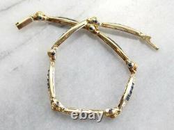 7.00 Carat Princess Cut Blue Sapphire Tennis Bracelet 14k Yellow Gold Over 7.25
