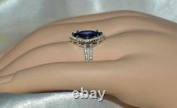 7 Carat Blue Tanzanite & Diamond Cocktail Ring In 14k White Gold Over