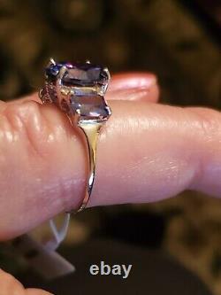 8.09 Carat Lab Tanzanite 10kt Solid White Gold Ring Size 8