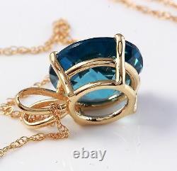 9.00 Carat Natural London Blue Topaz 14K Solid Yellow Gold Pendant
