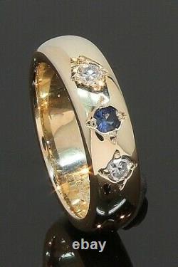 9 Carat Yellow Gold Sapphire & Diamond Set Wedding Ring Size E1/2 (80.21.105)