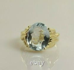 Aquamarine Ring in 14k Yellow Gold 3.82 Carats Size 7