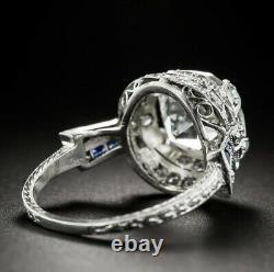 Art Deco 10.40 Carat Old Mine Cut Diamond 925 Solid Silver Engagement Women Ring