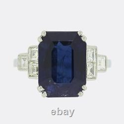 Art Deco 5.66 Carat Unheated Burmese Sapphire and Diamond Ring Platinum