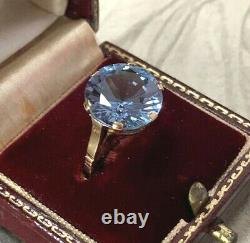 Art Deco Blue Spinel Ring, 9ct Yellow Gold Statement Ring, 7.94 Carats, UK M