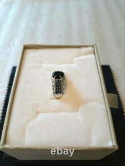 Beautiful 1.00 Carat Black Sapphire & 1/4 Carat Sapphire 10k White Gold Ring