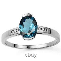 Beautiful 1.69 Carat London Blue Topaz & Vs Diamonds 14k Solid White Gold Ring