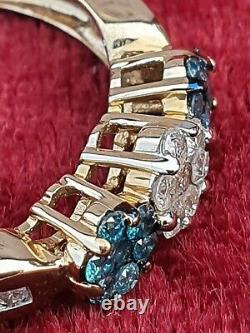 Beautiful Rare 9 Carat Gold Genuine Blue & White Diamond Trilogy Cluster Ring P
