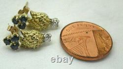 Beautiful Stylish 18 carat Gold Sapphire And Diamond Pineapple Brooch & Earrings