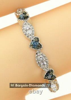 Blue Diamond. 14 carats 3-stone Hearts Eternal Love Promise 925 Ring engagement