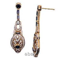 Blue Sapphire Diamond 18 Karat Yellow Gold Drop Estate Earrings