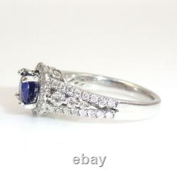 Blue Sapphire Round 1.11 Carat Halo Ring With Diamond In 14k White Gold (144831)