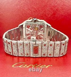 Cartier Santos Men's 40mm Skeleton Watch Steel Iced Out 25 Carats Diamonds