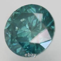 Cert 0.73 Carat Green Blue SI1 Round Brilliant Enhanced Natural Diamond 5.63mm