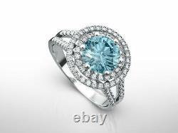 Diamond Ring 2.5 Carat Vs2 VIVID Blue Round Accented Fancy 14 K White Gold New