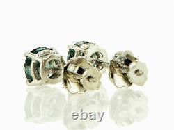 Diamond Stud Earrings Fancy Blue Round Cut 0.75 Carat VS2 Treated 14K White Gold