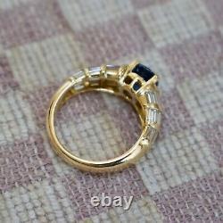 ESTATE 18K YELLOW GOLD TWO CARAT CEYLON SAPPHIRE & DIAMOND RING (size 4.25)