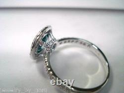 Enhanced Blue Diamond Engagement Ring 14k White Gold 1.35 Carat Bezel Set Halo