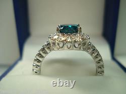 Enhanced Blue Diamond Engagement Ring 1.76 Carat 14k White Gold Unique Design