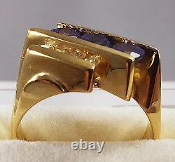Estate Find 14K Karat Yellow Gold NATURAL TANZANITE & DIAMOND RING Size 6.25