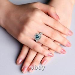 Fancy Blue Diamond Double Halo Solitaire Ring 14k White Gold 1.33 Carat Gorgeous