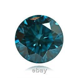 Fancy Vivid Blue Color Round Natural Loose Diamonds 0.95cts Carat VS1