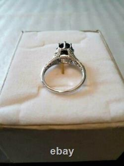 Gorgeous 2 Carat Black Sapphire & Diamonds Solitaire 10k Solid White Gold Ring