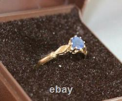 Gorgeous 9ct Yellow Gold Solitaire Sapphire Ring Size K L Hallmarked 375 9 Carat