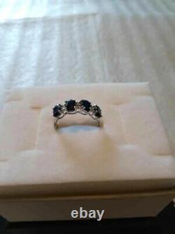 Gorgeous Genuine 2.44 Carat Sapphires & Diamond 14k Solid White Gold Ring