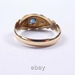 Gypsy Ring Sapphire Diamond 18 carat yellow gold George V 1923