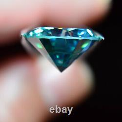 HUGE 16.6mm, 15.70 Carat Gorgeous Blue Genuine MOISSANITE USA Seller/Stock