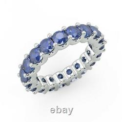 Heavy Gold 3mm 3.00 Carat Round Sapphire Claw Set Full Eternity Ring, White Gold