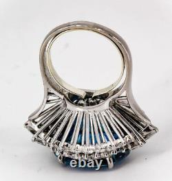 Impressive 27 Carat Untreated Burma Sapphire Diamond and Platinum Ring