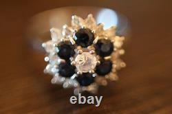 Ladies 18Ct 18K 18Carat Engagement White Gold Diamond Blue Sapphire Cluster Ring