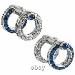 Light Blue 2 Carat Sapphire and 1 Carat Round CZ Day-to-Night Unique Cufflinks