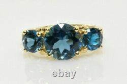 London Blue Topaz Three Stone Ring in 14k Yellow Gold 3.60 Carats Size 5.25