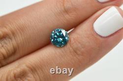 Loose Blue Diamond Fancy Color Round Shape Deal 1.58 Carat SI2 Natural Enhanced