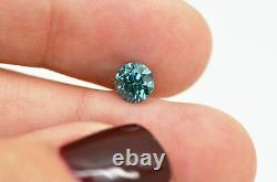 Loose Blue Diamond Fancy Color Round Shape Real 0.81 Carat Natural Enhanced SI1