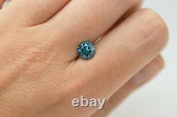 Loose Blue Diamond Round Cut Fancy Color SI2 Clarity Natural Enhanced 1.57 Carat