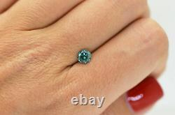 Loose Blue Diamond Round Shaped Fancy Color 0.70 Carat SI1 Natural Enhanced Real