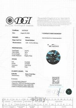Loose Diamond Fancy Blue Round Shape 0.94 Carat VS1 Certified Enhanced 6.23 MM
