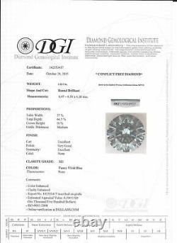 Loose Fancy Blue Diamond Round Shape 1.12 Carat SI1 Polished Natural Enhanced