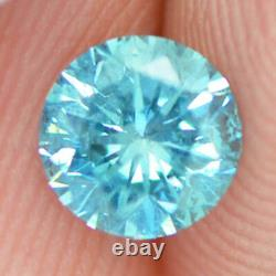 Loose Round Shape Diamond Blue Fancy Color 0.60 Carat SI1 Certified Enhanced