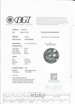Loose Round Shape Diamond Fancy Blue Color 1.01 Carat SI2 Certified Enhanced