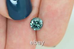 Loose Round Shape Diamond Fancy Blue Color Certified Enhanced 0.91 Carat VS1