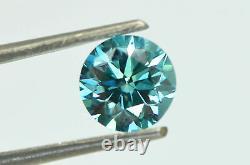 Loose Round Shape Diamond Fancy Blue Color VS2 Certified Enhanced 1.36 Carat