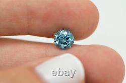 Loose Round Shape Diamond Real 1.24 Carat Fancy Blue Color I1 Certified Enhanced