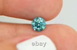 Loose Turquoise Diamond 0.90 Carat Round Fancy VS2 Enhanced For Engagement Ring